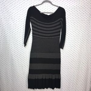 NWT Bailey 44 Anthro Black Gray Striped Knit Dress